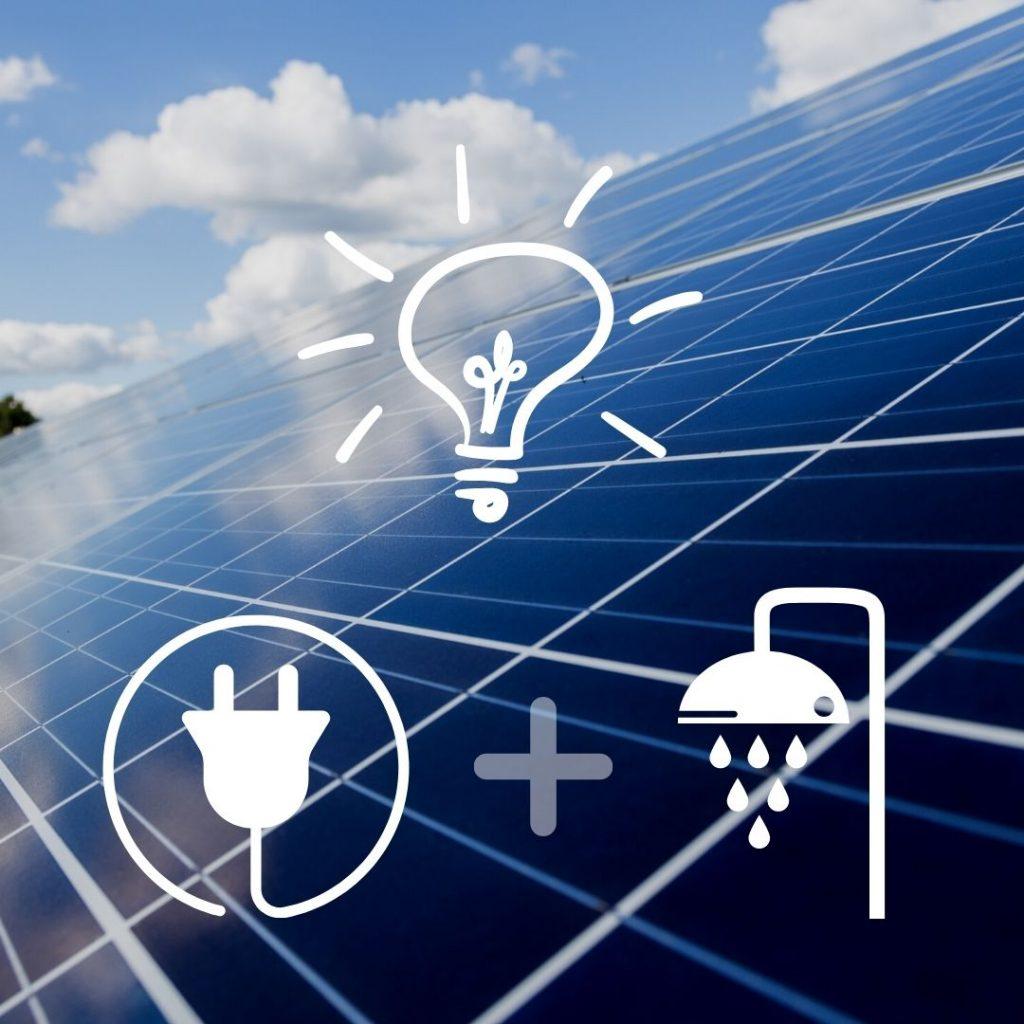 Solarmodul mit Icons zu Strom und Wasser